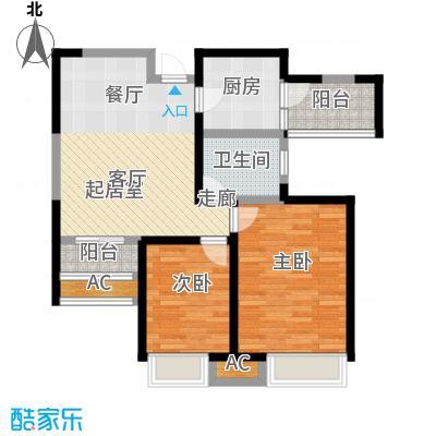 国耀上河城89.03㎡A1户型二室二厅一卫户型2室2厅1卫