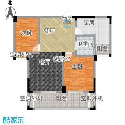 现代森林小镇金融SOHO垂直商业97.00㎡二期B区C栋2户型 二房二厅一卫户型