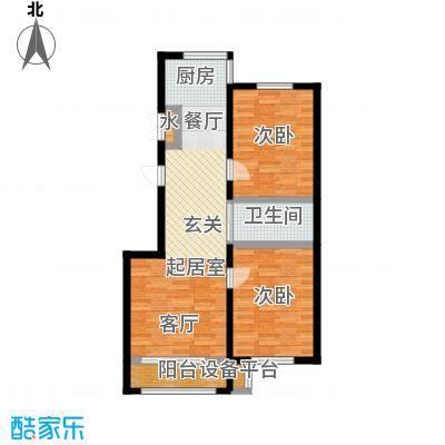 香江铂朗明珠91.44㎡高层E户型2室2厅1卫
