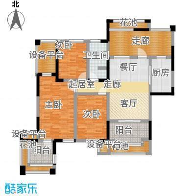 中冶南方韵湖首府118.00㎡B1户型 三室两厅一卫户型3室2厅1卫