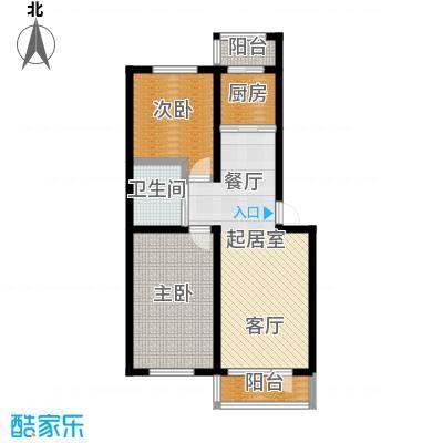 青石花语76.00㎡2号楼A1户型图户型2室2厅1卫