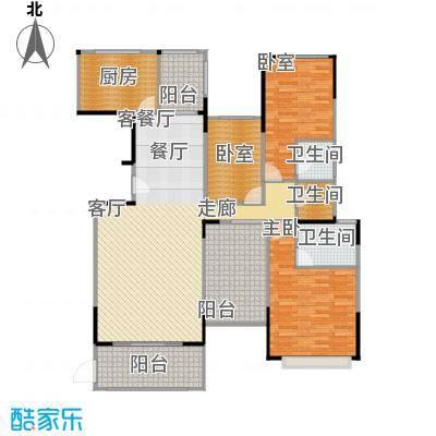 景湖荣郡138.00㎡N+户型1室1厅3卫1厨