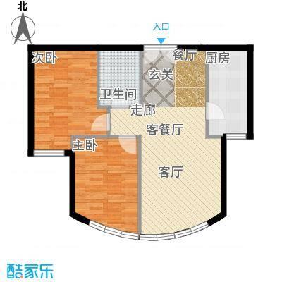 新华联运河湾84.31㎡C2\'户型2室2厅1卫