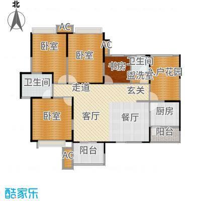 领馆国际城118.27㎡B2户型四室两厅双卫实得面积138.07平米户型4室2厅2卫