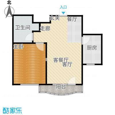 万达金石天成58.21㎡A户型 一室两厅一卫户型1室2厅1卫