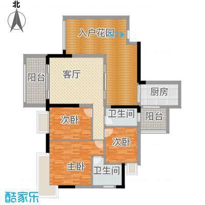 泊岸君庭126.96㎡5栋2单位户型3室1厅2卫1厨