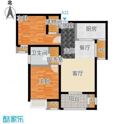 保利玫瑰湾89.00㎡A1两室两厅一卫户型2室2厅1卫