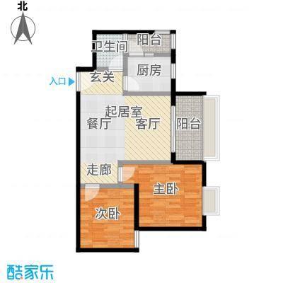 东方苑67.22㎡3号楼2-7层01单位户型2室1卫1厨