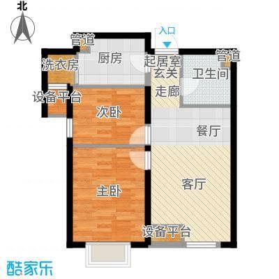 龙跃财富公馆82.00㎡B户型2室2厅1卫
