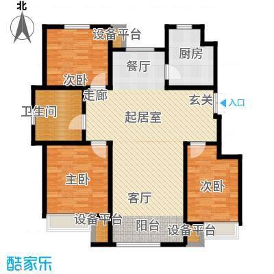 山中的24栋120.00㎡C户型三-六层 三室二厅一卫户型3室2厅1卫