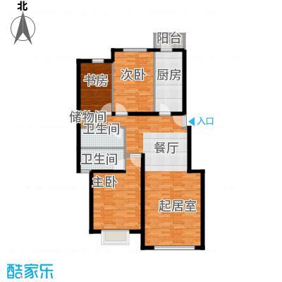 北京奥林匹克花园121.80㎡三期B2户型3室2厅2卫