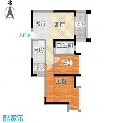 极目楚天77.85㎡3栋3C户型2室1厅1卫1厨