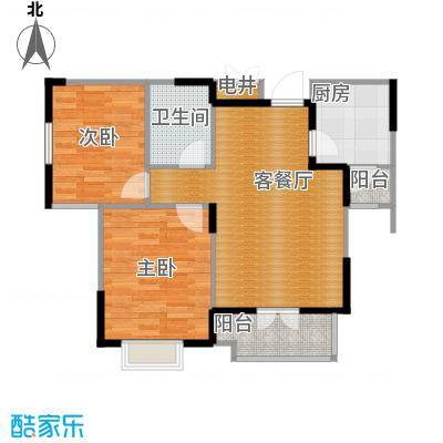 剑桥港湾85.00㎡高层B2户型2室2厅1卫