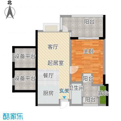 雅居乐城南源著微博公寓1栋09单元户型1室1卫
