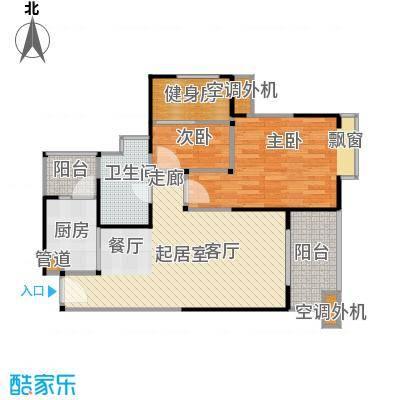 汇锦城85.00㎡E5户型两室两厅一卫户型2室2厅1卫