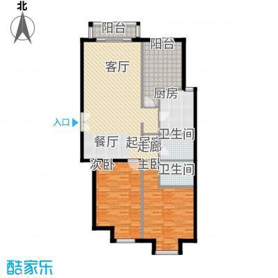 丽都壹号118.19㎡B01反户型3室2厅2卫1厨户型3室2厅2卫