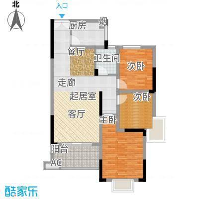 香缇溪岸103.22㎡10#楼D2户型3室2厅1卫