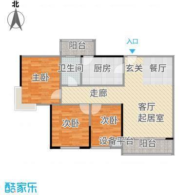 尚东峰景C栋02户型3室1卫1厨