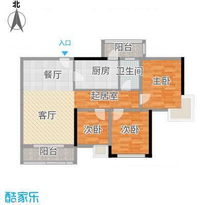 尚东峰景C栋01户型3室1卫1厨