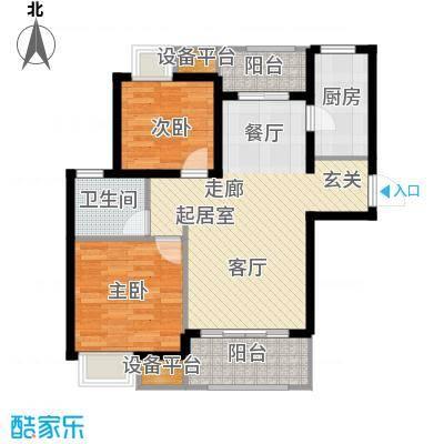 太湖国际社区88.81㎡聆湖E1户型2室2厅1卫