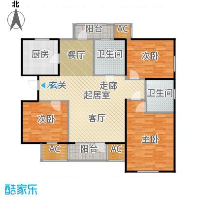 中兴泊仕湾126.00㎡1号楼标准层D户型3室2厅1卫户型3室2厅1卫