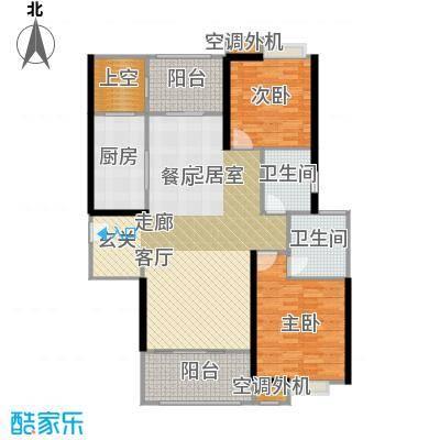 弘建一品117.47㎡两房两厅两卫户型2室2厅2卫