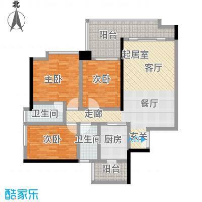 富力君湖华庭120.00㎡T3栋2-25层03单元户型3室2卫1厨