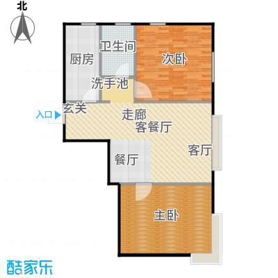 融侨观邸88.00㎡两室户型2室2厅1卫
