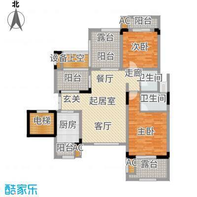 蓝溪谷地图为6FB户型2室2卫1厨