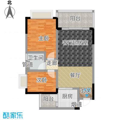 恒大城小高层1户型2室1卫1厨