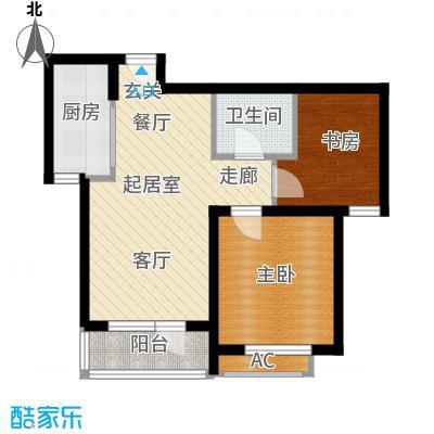 曹妃甸生态城彩虹嘉园69.50㎡两室两厅一卫户型QQ