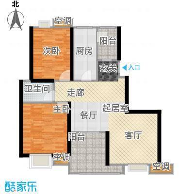 曲江明珠107.00㎡9、12号楼西户107平米户型2室2厅1卫