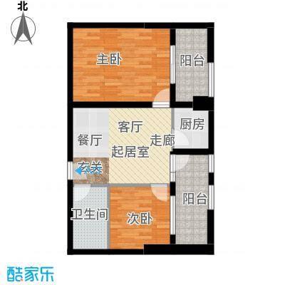 现代森林小镇金融SOHO垂直商业86.00㎡D1户型2室2厅1卫