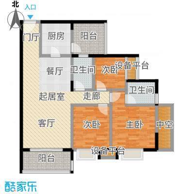 学府南苑十七号楼01单位户型3室2卫1厨