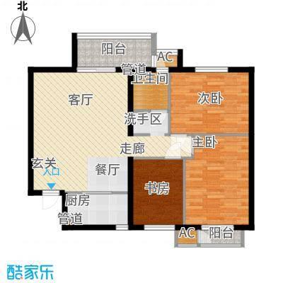 青年城两室两厅一卫一厨102平米户型
