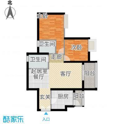 东方新世界三期熹园组团熹景栋标准层06户型2室2卫1厨