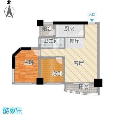兰波红城丽景71.63㎡二期A3栋标准层B23号房户型2室1厅1卫1厨