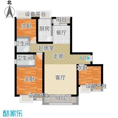 钢城水岸户型3室2卫1厨