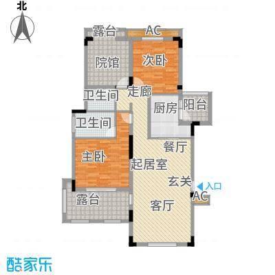 金科天湖小镇114.00㎡39号楼D1户型 两室两厅两卫 赠送面积17平米户型2室2厅2卫