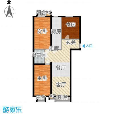 青年城三室两厅两卫一厨121平米户型