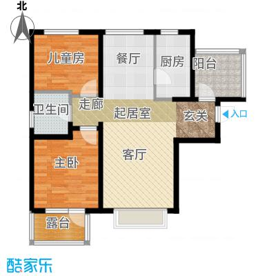 金隅・观澜时代93.00㎡G1`户型2室2厅1卫