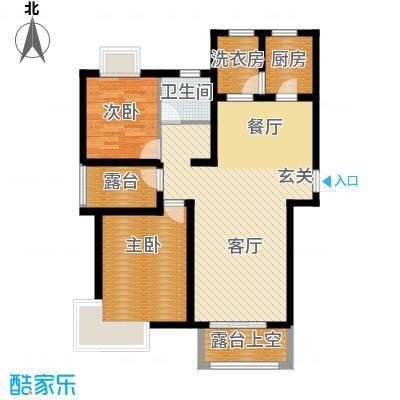 世茂生态城100.00㎡高层G-1户型2室2厅1卫