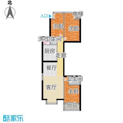 奥东18号132.11㎡南楼E户型3室1厅2卫1厨