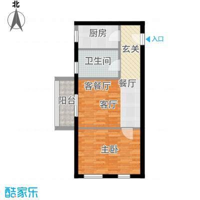 顶�广场50.72㎡顶�广场户型图A2户型一房一厅一卫(3/4张)户型1室1厅1卫1厨
