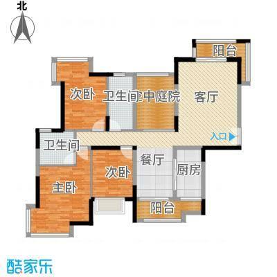 金域中央天玺123.20㎡33、34、35栋01户型3室1厅2卫1厨