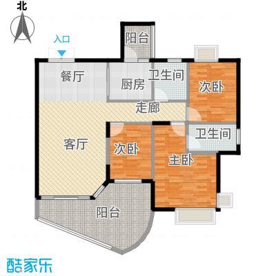 恒大城94.00㎡小高层1号房户型3室1厅2卫1厨