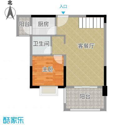 人信太子湾89.00㎡G1-02第16层户型1室1厅1卫1厨