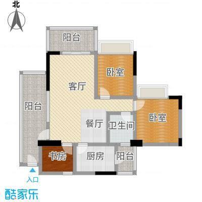 广州雅居乐花园98.72㎡时光九篇B型1栋203户型1室1厅1卫1厨