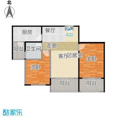 碧桂园生态城86.30㎡J166-03B户型2室2厅1卫