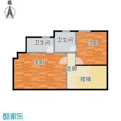 广州雅居乐花园140.20㎡H2型四联别墅二层平面图户型2室2卫